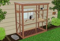 DIY CATIO PLANS - this lady is a genius + even has DIY plans! Even if your neighborhood allows cats outdoors (many do not) we were turned down several shelters b/c we allow our cat outdoors even tho we watched him in the yard they said that's a no no nowadays b/c outdoor cats live less longs than indoor cats. I think cats clearly want to be outside so maybe if they live longer indoors but miserably that's bad. Great compromise b/c no fights + stops killing  wildlife