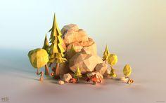 ArtStation - Power Giants - paper lowpoly environments, Mateusz Szulik