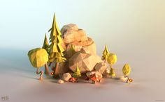 ArtStation - Power Giants - paper lowpoly environments, Mateusz Szulik