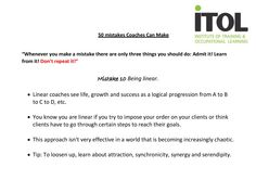 Mistake No.10 from our 50 Mistakes Coaches Can Make!
