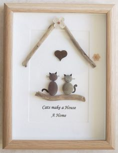 This is a beautiful small Pebble Art framed Picture - Cats make a House a Home handmade by myself using Pebbles, Driftwood, Wooden Heart and Fabric Flowers  Size of Picture incl Frame : approx. 22cm x 17cm  This Picture is only available as shown in Photo  Thanks for looking Doris   Facebook: https://facebook.com/Pebbleartbyjewlls4u      Product Code: P - Orange