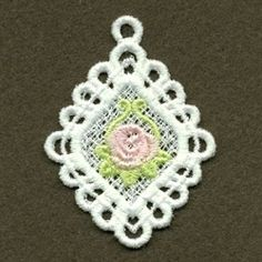 FSL Rose Pendant 10 - 4x4 | FSL - Freestanding Lace | Machine Embroidery Designs | SWAKembroidery.com Ace Points Embroidery