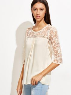 Shop Apricot Lace Crochet Sheer Sleeve Blouse online. SheIn offers Apricot Lace Crochet Sheer Sleeve Blouse & more to fit your fashionable needs.