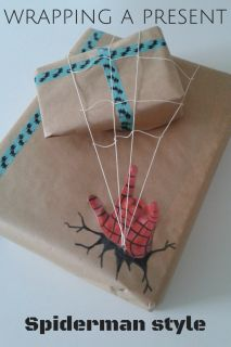 A cool boy birthday wrapping, Spiderman gift.                                                                                                                                                      More