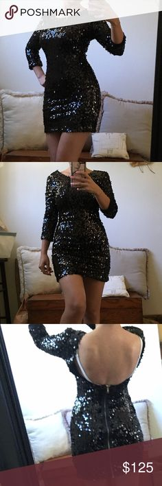 NEW TOP SHOP SEQUIN LOW BACK DRESS Fits an xs to small. Labeled UK 8. US 4. Top shop sizes run a tad small. 32-34b/c with or without push up bra. Waist 23-25. Hips 34-35. A bit of stretch. Super soft lining. Very soft to the touch and skin. Durable. Well made. Don't feel sequins at all! Zips down the back. As seen on celebrities! Posh takes 20% fee so pls be kind with offers. 5 star seller/Suggested user on many platforms! Ships same day for free! Cant pick free shipping so I have discounted…