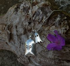 £5 tombstone and ghost charm necklace by shiningstarjewellery on Etsy