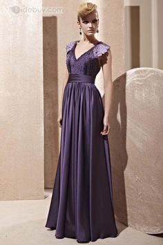 Elegant V-neckline A-line Floor-length Evening Party Dress