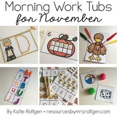 Morning Work Tubs for Kindergarten {November} - Work with your kinders on 20 different activities for the entire month of November. You get student instruction cards and all the activities. Great for centers, stations, morning work, seat work, review, and much more. Some materials - such as pipe cleaners - will need to be added. Click through for all the details!