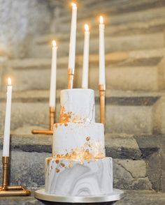 Marbled wedding cake with gold leafing