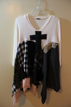 Goth Grunge Shirt for Fall, Shabby Chic Romantic, Junk Gypsy Style