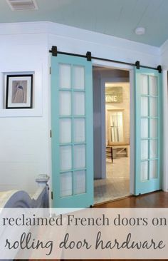 recycle back french door instead of new barn door on laundry room? Replace a swinging door with rolling door hardware, great idea for any doorway in an awkward spot! The Doors, Entry Doors, Patio Doors, Front Entry, Swinging Doors, Interior Barn Doors, Barn Door Hardware, Rustic Hardware, Home Projects