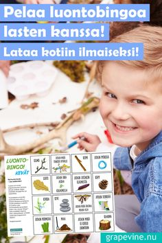 Naturbingo – morsom utendøraktivitet for familien! Bingo, Quiz, Grape Vines, Finland, Picnic, Kindergarten, Ideas, Picnic Ideas, Animals