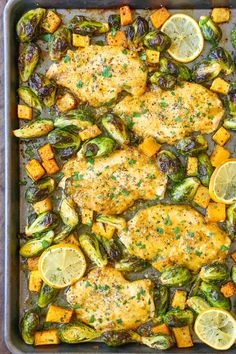 This one pan lemon chicken with butternut squash and brussel sprouts recipe makes dinner super easy for a busy work week!