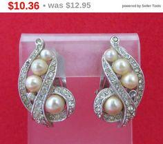 ON SALE Vintage Marvella Faux Pearl Rhinestone Earrings