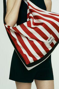 Acne Studios Grande plage L red/white stripe Large striped bag