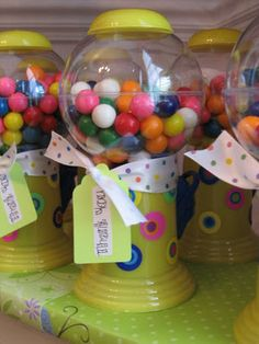 Party favor gumball machines (Willy Wonka themed engagement party)