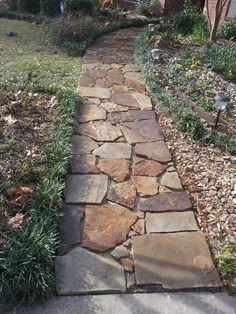 Stone path way, weaver st, beaumont, not fun Backyard Walkway, Flagstone Walkway, Outdoor Walkway, Outdoor Landscaping, Front Yard Landscaping, Outdoor Gardens, Stone Walkways, Garden Stones, Garden Paths