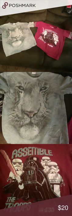 Fun Boys Shirt Bundle Gray white tiger shirt......and red Lego Assemble The Troops shirt . Good condition. Assorted Shirts & Tops