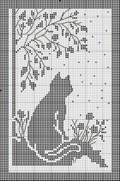 Kira scheme crochet: Scheme crochet no. 1674 Kira scheme crochet: Scheme crochet no. Free Cross Stitch Pattern - Cat and flowers silhouette Afbeeldingsresultaat voor crochet firana with cat The Watchful Cat This would make a nice curtain in filet crochet. Cross Stitch Designs, Cross Stitch Patterns, Crochet Patterns, Free Cross Stitch Charts, Cat Cross Stitches, Flower Patterns, Embroidery Patterns, Filet Crochet Charts, Knitting Charts