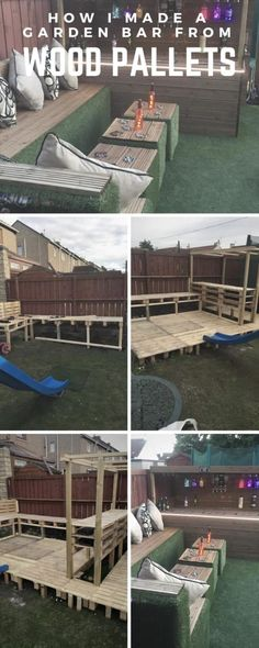 When my daughter wanted a party in the garden for her birthday, I said Id bring some wood pallets home from work to build a garden bar for her birthday party! diy garden furniture How I Made a Garden Bar from Wood Pallets Pallet Garden Furniture, Pallets Garden, Furniture Legs, Barbie Furniture, Furniture Design, Bedroom Furniture, Outdoor Furniture, Recycled Pallets, Wood Pallets