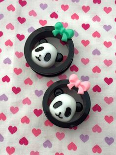 Kawaii Panda Bear Tunnels- 24mm-36mm (Sold as Pair)