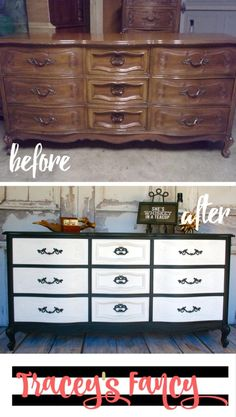 My Black and White Classy Dresser and One Fickle Client | Tracey's Fancy | Painted Furniture Makeover