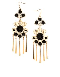 ASOS, XL leaf filigree stone earrings