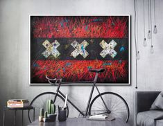 This is hand painted Flag of Amsterdam in on Industrial style interior. Mixed Media, Expressiv, Textured, Creative Wall Art.