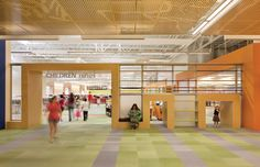 Texas: Formerly a Walmart, the McAllen Public Library gives kids ample room to roam around and find secret hiding spots to read. It won a 2013 AIA Institute Honor Award for Interior Architecture. Main Library, Kids Library, Library Design, Central Library, Dream Library, Library Ideas, Library Architecture, Interior Architecture, Interior Design