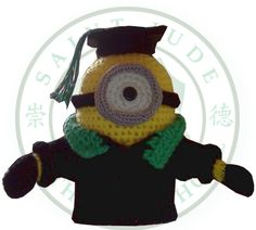 Crocheted minion in graduation outfit in our school colors Doll Toys, Dolls, Minion Crochet, School Colors, Amigurumi Doll, Crochet Animals, Crochet Crafts, Free Pattern, Crochet Necklace
