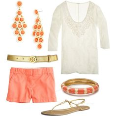 Gold and Coral, created by #katieerickson28 on #polyvore. #fashion #style J.Crew Tory Burch