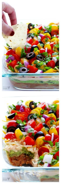 7 Layer Dip -- fresh, colorful, delicious and perfect for game day! Black beans instead of refried. Dip Recipes, Mexican Food Recipes, Cooking Recipes, Ethnic Recipes, Yummy Appetizers, Appetizer Recipes, Tapas, Healthy Snacks, Healthy Recipes