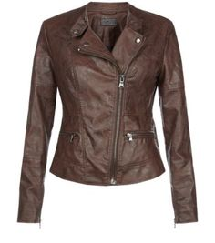 Chocolate Brown Leather-Look Zip Pocket Biker Jacket - Jeans, plain t'shirt and the boots. Biker Chick!