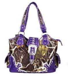 Muddy Girl Camo Purse | soft camo western rhinestone belt buckle purse purple previous in camo ...