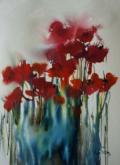 ATELIER DE LA PETITE MER - Les aquarelles d'Olivia QUINTIN en Bretagne : Coquelicots amoureux. Poppies in love.