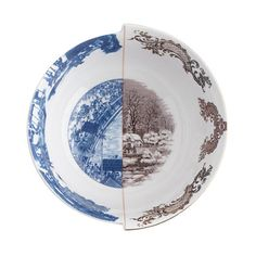 """Since it was first founded in Cicognara, Italy, in 1964, family-run design company Seletti has had a reputation for its innovative designs and fine materials. These hybrid dishes certainly fit the criteria—each piece is produced in Tanghsan, China (the """"capital of bone china"""") and painted with a European or Asian motif, then sliced in half and re-combined to juxtapose clashing scenes....."""