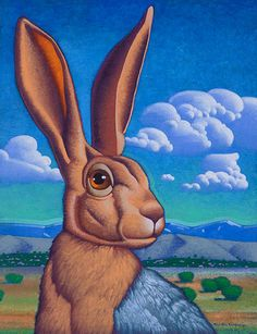 """""""Jack of Rabbits"""" 18 by 14 inches acrylic on canvas Private collection"""