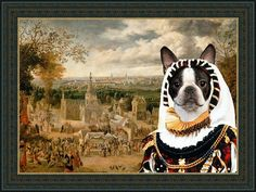 Boston Terrier Dog Art CANVAS Print Fine Artwork by NobilityDogs