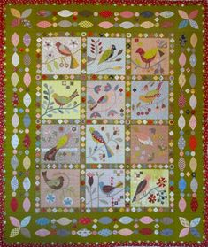 New BOM from The Running Chicken Quilting Company - Paradise of birds by Irene Blanck Bird Applique, Applique Patterns, Applique Quilts, Applique Designs, Embroidery Applique, Quilt Patterns, Quilting Blogs, Patchwork Quilting, Quilting Designs