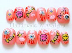 Kawaii nails deco nails 3D nails creepy pink eyeballs by Aya1gou, $15.50