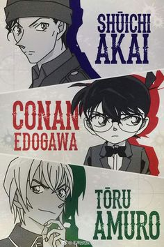 Mystery♡: I love these three so much, they are my favourite ♥ (I can't choose only one character! Anime Guys, Manga Anime, Manga Japan, Bape Wallpapers, Detective Conan Shinichi, Konan, Detective Conan Wallpapers, Amuro Tooru, Kaito Kid