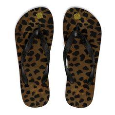 08ba79b4ab91 Ikuta Unisex Women s Or Men s Fashion Leopard Animal Print Rubber Summer  Beach Flip-Flops (US Size  S