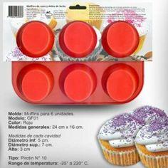 Categoría: Moldes De Silicona - Producto: Molde De Silicona Para Cupcakes Para  6 Unid. - Envase: Unidad - Presentación: X Unid.