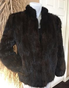 7250598c213 SAGA MINK Dark Brown Genuine Mink Fur Coat Vertical Ribbed Tail Pattern  Jacket S