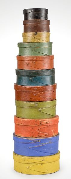 Diminutive stack of oval paint fingered boxes, total height just 21 inches, first half 19th century