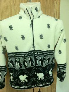 Women's Jacket Polar Bear Penguins Blk White Snowflake Sm 100% polyester