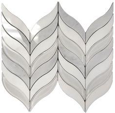 Waterjet Arrows Polished Glass, Carrara & Light Grey Marble Mosaic-1 Sheet #Unbranded