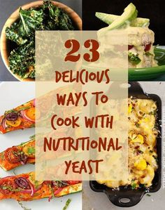 23 Delicious Reasons To Start Cooking With Nutritional Yeast - Nutritional yeast is inactive yeast, often used for its savory, cheesy flavor. It's vegan and gluten-free and available in most health food stores. It's also got tons of nutrients, including B Vegan Foods, Vegan Dishes, Vegan Meals, Food Dishes, Whole Food Recipes, Cooking Recipes, Cooking Games, Cooking Classes, Nutritional Yeast Recipes