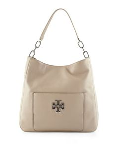 Britten Leather Hobo Bag, French Gray by Tory Burch at Neiman Marcus.