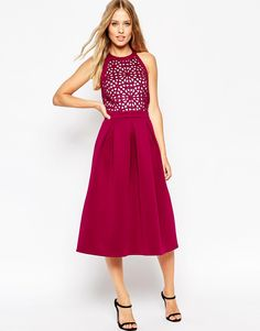 Image 1 of ASOS Premium Cutwork Full Midi Scuba Skater Dress
